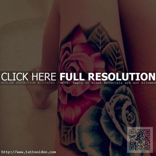 Rosen Oberschenkel Tattoo