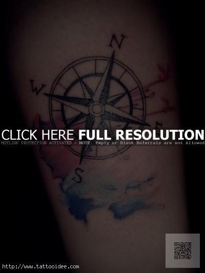 Kompass Aquarell Tattoo